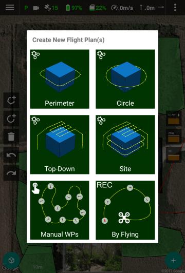 Drone Harmonys Flight Planner: Six flight plan types.